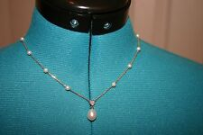 ROSS SIMONS 14k YELLOW Gold & Fresh Water PEARL Dangle DIAMOND accent NECKLACE