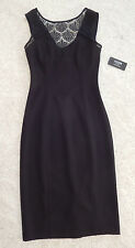NWT GUESS Sleeveless Illusion Scuba Dress Women's Black Lace Front Size 2 Small