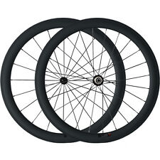 700C 50mm Clincher  Super Light Carbon Road Bike Bicycle Racing Wheels All Black