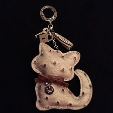 DESIGNER ACCESSORY - Beige Brown Kitty Cat Ostrich Leather Keychain Purse Charm