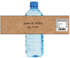 100 Brown Paper Bag Wedding Anniversary Engagement Party Water Bottle Labels