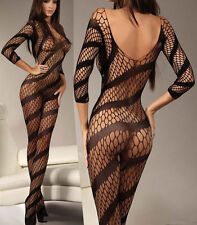 Black Backless Sexy Backless Bodystocking Lingerie Babydoll Crotchless S 6-12