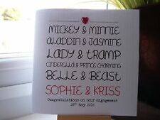 Modern Handmade Personalised Disney Couples Wedding Engagement Anniversary Card