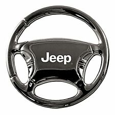 JEEP CJ WRANGLER CHEROKEE  -  JEEP LOGO STEERING WHEEL KEYRING IN BLACK