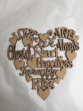 Nan Heart LaserCut out Plaque 150x150mm Wood Mdf 3.2 Mm Wooden Crafts