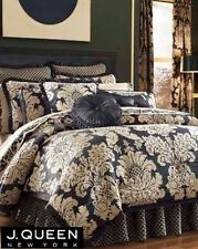 J. QUEEN NY FAIRMONT Queen COMFORTER Pillows DRAPES SHEETS 15PC Set Black Gold