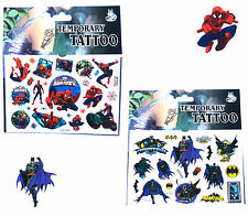 1 BATMAN & 1 SPIDERMAN TATTOO SHEET Boys Kids Birthday Party Bag Gift Childrens