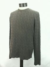 J.CREW Mens Cable  Knit Pullover Sweater Brown Linen Cotton Medium