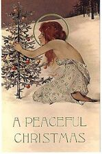 Christmas Tree Holy Lady Snow Halo Repro Postcard