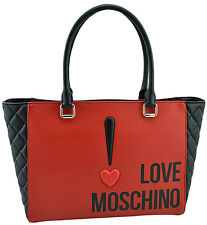 $360 MOSCHINO Love Red Black QUILTED Saffiano Leather Shoulder Bag Tote Shopper