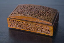 Intricately Carved Teak Wooden Jewelry Trinket Box Vintage or Antique? India
