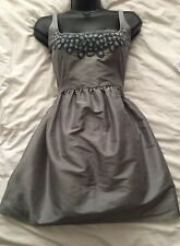 KATE MOSS for TOPSHOP Silk Blend  Silver Mini Party Dress Size 12 UK
