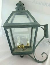 Vintage Copper and Glass Light Fixture Old Outdoor Post Light