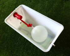 STURDY 8 LITRE FLOAT VALVE WATER TANK with LID & 2 OUTLETS for RABBITS/CHICKENS