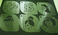DISNEY PRINCESS Set of 6pcs Cacao Stencils Strew Airbrushing Dusting Body Face
