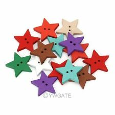 NEW 100pcs Mixed Printed 2 Holes Star Wood Sewing Button Scrapbooking