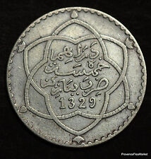 MOROCCO ARGENT  MOULAY HAFID 1/2 RIAL(5DH) 1329H PARIS SILVER COIN AB10
