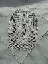 "Circular antique Victorian white Irish linen tablecloth - monogram ""O.B.M"""