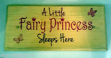 A Little Fairy Princess Sleeps Here - Plaque / Sign / Gift - Bedroom Girl 207