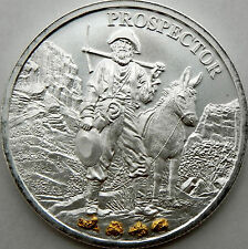 1 oz Silver Prospector Round with Gold Nuggets From Porcupine Creek Alaska