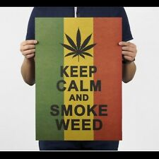 Jamaica Reggae Style Keep Calm and Smoke Weed Poster Wall Stickers Decal