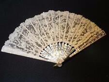 Antique Mother of Pearl & Lace Hand Fan Carved Bone