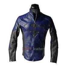Superman Man of Steel Smallville Blue & Black High Quality Leather Shield Jacket