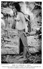 1913 Borneo Tribal Punan Woman Carrying Her Child In A Basket