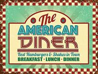 New 30x40cm THE AMERICAN DINER vintage enamel style tin metal advertising sign
