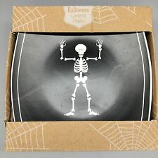 4 Halloween Dancing Skeleton Skull Plates Salad Appetizer Party Black White NEW