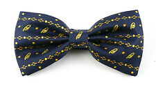 New Men's BRIONI Italy Navy Gold Polka Dot Woven Adjustable Silk Bow Tie!