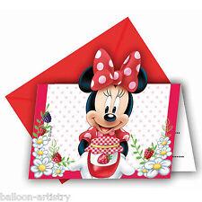 6 Disney Minnie Mouse Fruit Jam Children's Party Invitations plus Envelopes