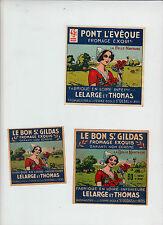 3 Anciennes  étiquette  Fromage   France Pont L'Evèque  La Belle Nantaise Femme