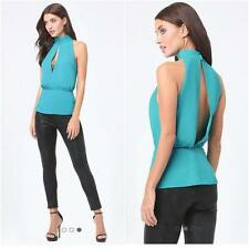 BEBE BLUE CARVER MOCK NECK PEPLUM NEW NWT TOP SHIRT $69 LARGE L