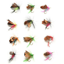 12Pcs Wet Dry Trout Flies Fly Fishing Bass Lure Hook Stream Vintage Tackle IG