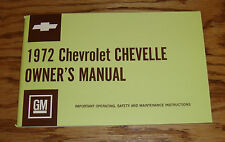 1972 Chevrolet Chevelle Owners Operators Manual 72 Chevy