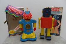Rare Pair Robbie & Ranger Robot Cragstan Toys Made Hong Kong 1960's Box
