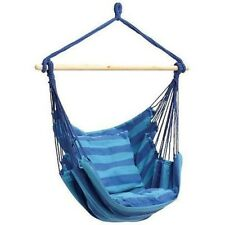 Club Fun Blue Striped Hammock Hanging Rope Chair Porch Swing 2 Cushions