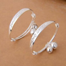 Small Bell Silver Plated Kid Child Baby Childrens Jewelry  bangle Bracelet 2PCS