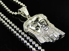 Sterling Silver Jesus Piece Real Diamond Pendant And Chain In White Gold FInish