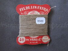 R500 Mercerie vintage ancienne carte FIL DE LIN N°24/3 VRAU beige  Thread