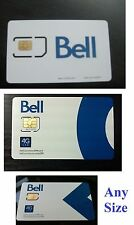 $15 Activated Bell Canada i sim card 4g LTE GSM cell phone pre pay go nano micro