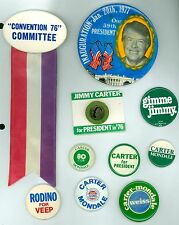 10 Vintage 1976-80's Jimmy Carter Presidential Campaign Pinback Buttons + Rodino