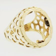 9Carat Yellow Gold Caged Style Half Sovereign Ring Mount (Size R)