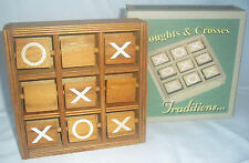 NEW TRADITIONAL WOODEN NOUGHTS AND CROSSES SWIVEL BLOCKS IN FRAME BOXED ACK10099