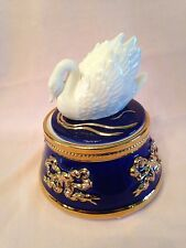 Music Trinket Box In Gold And Navy With The Beautiful Swan