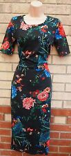 G21 BLACK MULTI COLOR RED FLORAL CROP SLEEVE PENCIL TUBE BODYCON TEA DRESS 8 S
