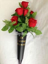 Seda Artificial Tumba Flor Rojo Rosa Bush San Valentín Spike Memorial Florero homenaje