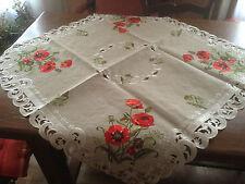 NAPPE A THE CENTRE DE TABLE SUR NAPPE BRODEE