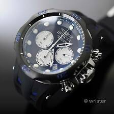 Invicta Venom Black Silver SS Chronograph Blue Accent Silicone 52mm Men's Watch